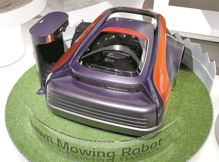 Seen is LG Electronics' lawn mowing robot exhibited during the 2017 Consumer Electronics Show in Las Vegas. Courtesy of LG Electronics