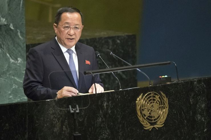 North Korean Foreign Minister Ri Yong-ho addresses the 73rd session of the United States General Assembly, early Sunday (Seoul time) at U.N. headquarters in New York. AP-Yonhap