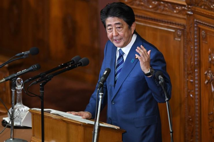 Japan's Prime Minister Shinzo Abe delivers a policy speech at the start of the extraordinary Diet session in Tokyo on October 24, 2018. AFP
