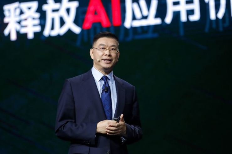 William Xu, chief strategy marketing officer of Huawei, speaks during the Huawei Connect 2018 conference at the Shanghai World Expo Exhibition & Convention Center, Thursday. / Courtesy of Huawei