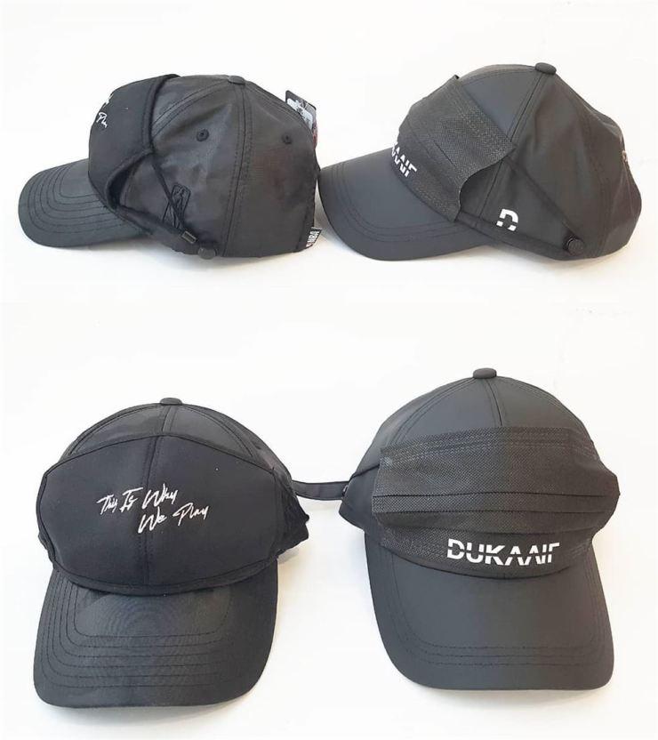 Hansae MK's NBA ball cap with mask hangers, left, and Aelju V's Dukaaif Frankendust / Courtesy of Aelju V