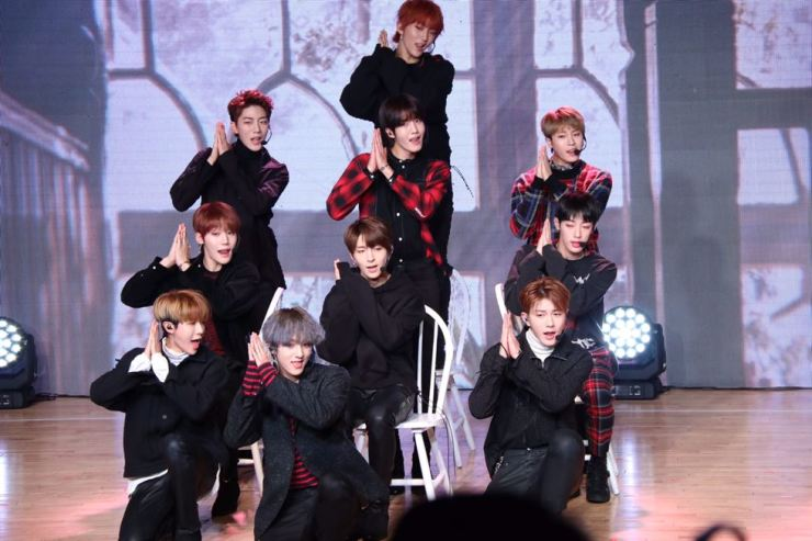 Golden Child performs during the press event. Courtesy of Woollim Entertainment