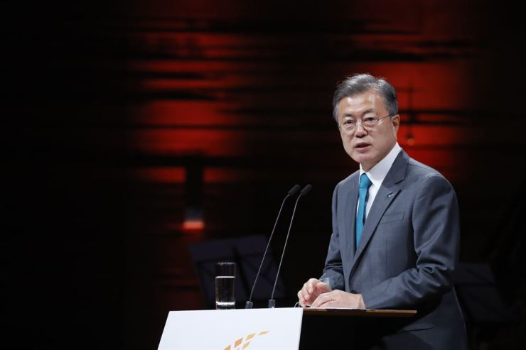 South Korean President Moon Jae-in speaks during the first P4G Summit at Danish Radio Concert Hall in Copenhagen, Oct. 20. Yonhap
