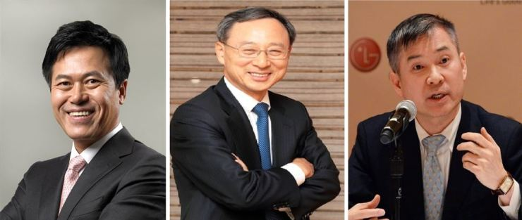 From left are SK Telecom CEO Park Jung-ho, KT Chairman Hwang Chang-gyu and LG Uplus CEO Ha Hyun-hwoi