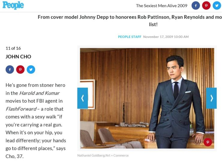 John Cho was selected as one of the 'sexiest men alive' by People magazine. Capture from PEOPLE.com