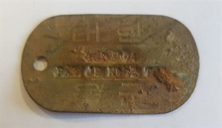 Seen above is a military identification tag found Wednesday at Broken Arrow, an upland area in Cheorwon, Gangwon Province. The tag belongs to late South Korean Army Sergeant Pak Je-kwon. / Courtesy of Ministry of National Defense
