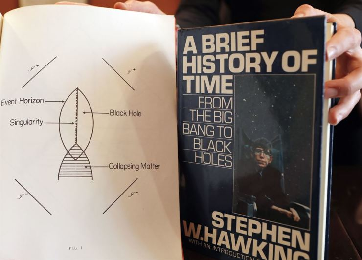 A Book, and scripts by Stephen Hawking are among the personal and academic possessions of Stephen Hawking at the auction house Christies in London, Friday, Oct. 19, 2018. AP