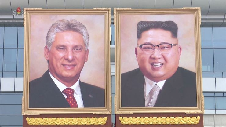This Sunday clip from North Korea's state-run Korean Central Television (KCTV) shows portraits of the North's leader Kim Jong-un and Cuba's President Miguel Diaz-Canel at Pyongyang International Airport. Yonhap-KCTV