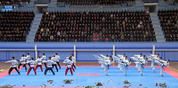 Demonstration teams from the World Taekwondo and International Taekwondo Federation hold a joint performance at the packed Taekwondo Hall in Pyongyang, Friday. Courtesy of World Taekwondo