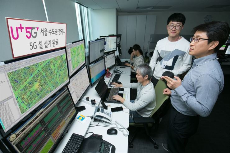 LG Uplus officials work on cell planning necessary to offer stable 5G services. Courtesy of LG Uplus