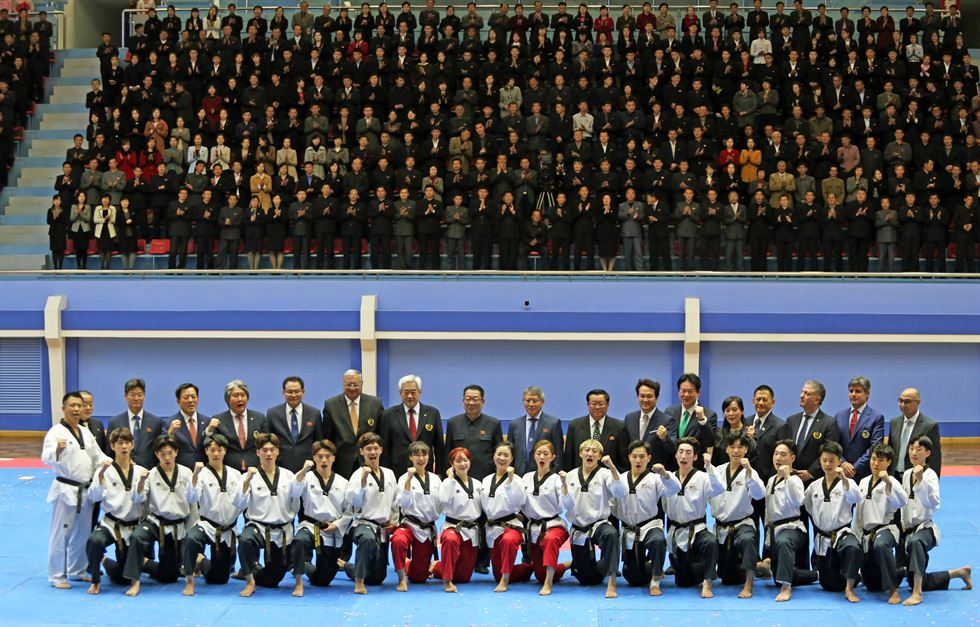 The crowd reacts during the World Taekwondo demonstration team's performance at Taekwondo Hall in Pyongyang, Wednesday. Courtesy of World Taekwondo