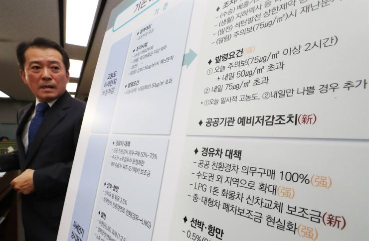 Yoo Je-chul, the head of the living environment policy office of the environment ministry, makes a presentation on strengthened countermeasures against fine dust at the Government Complex in Sejong, Thursday. Yonhap