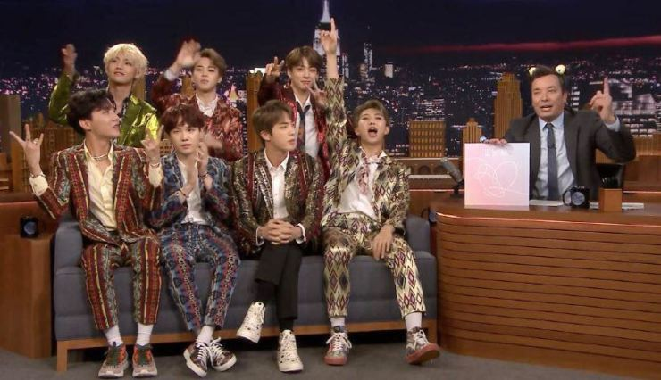 K-pop sensation BTS appears on the U.S. talk show 'The Tonight Show Starring Jimmy Fallon,' aired on Sept. 25. Courtesy of Big Hit Entertainment