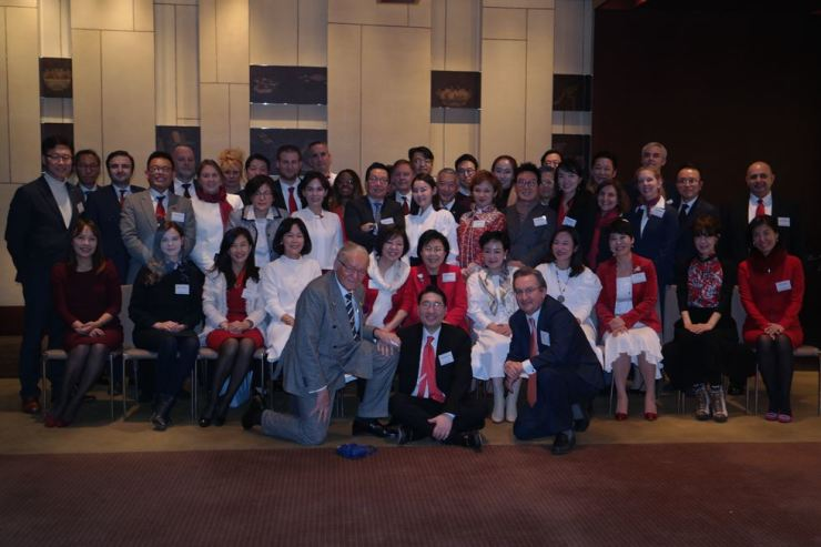 Members of Corea Image Communication Institute (CICI), opinion leaders from home and abroad, at the CICI-Korea CQ Winter Welcoming Gathering at the Grand Hyatt Seoul, Monday. Courtesy of CICI