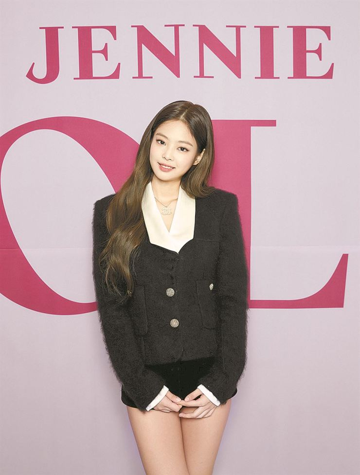 Jennie poses for a photo at a press conference unveiling her solo track 'SOLO' at Platform-L in Seoul, Monday. Courtesy of YG Entertainment