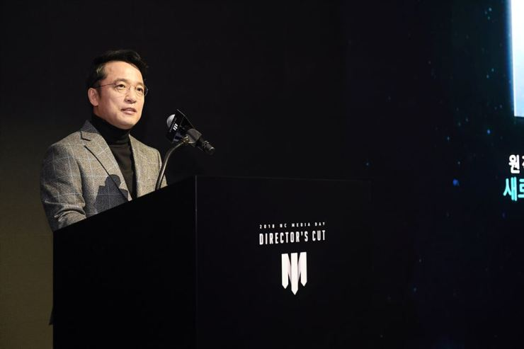NCSOFT CEO Kim Taek-jin speaks during a press conference at the Raum convention center in southern Seoul, Thursday. Courtesy of NCSOFT