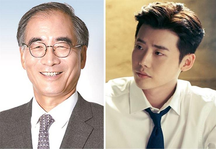 Hansae YES24 Holdings Chairman Kim Dong-nyung, left, and actor Lee Jong-suk / Korea Times file