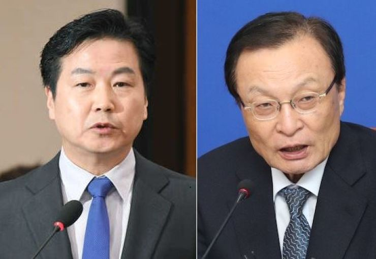 Minister of SMEs and Startups Hong Jong-haak, left, and Democratic Party of Korea Chairman Lee Hae-chan. Korea Times file