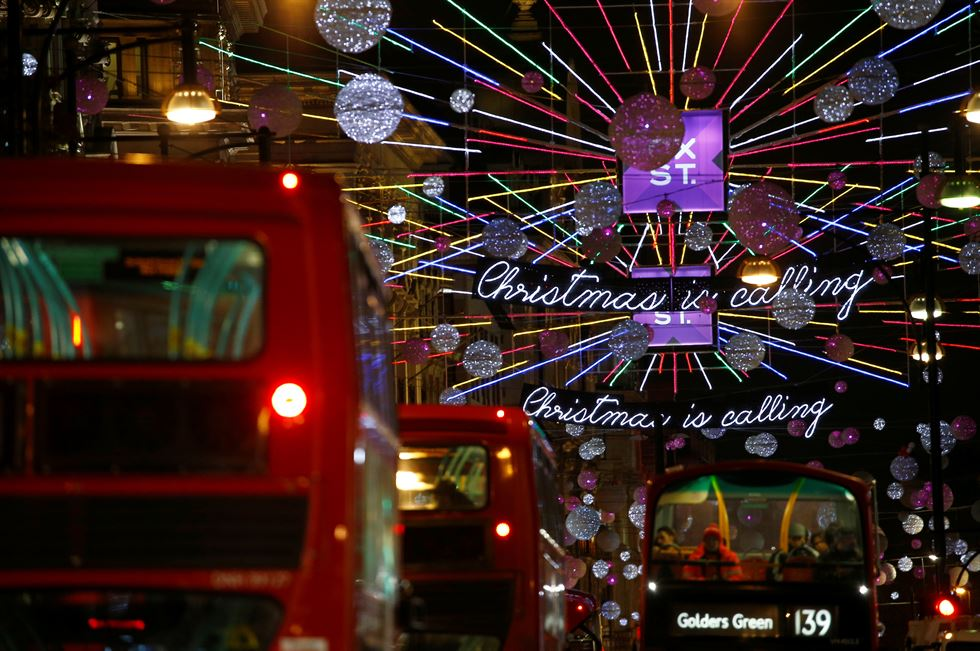The Oxford Street Christmas lights shine after being switched on for the festive season, in London, Britain, November 6, 2018. Reuters