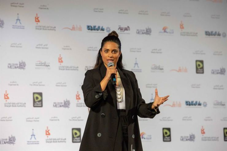 Canadian YouTube star Lilly Singh speaks at the Sharjah International Book Fair (SIBF) on Nov. 8 at the Sharjah Expo Center. Courtesy of SIBF