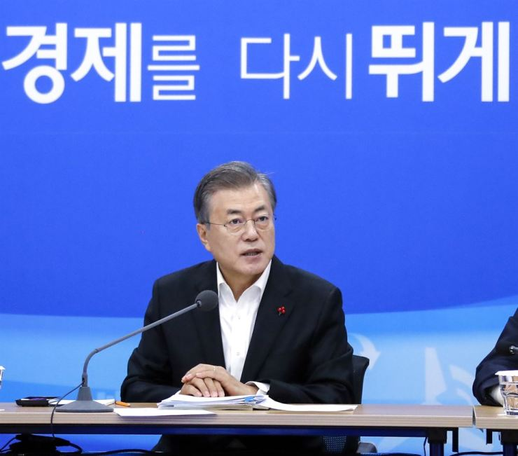 President Moon Jae-in speaks in an opening speech before being briefed about the trade ministry's 2019 management plans at the government complex in Sejong, Tuesday. / Yonhap
