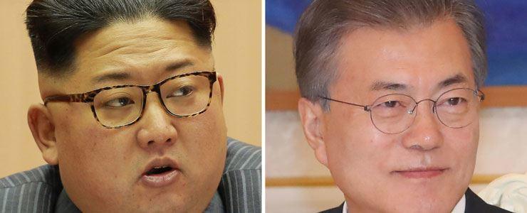 North Korean leader Kim Jong-un, President Moon Jae-in