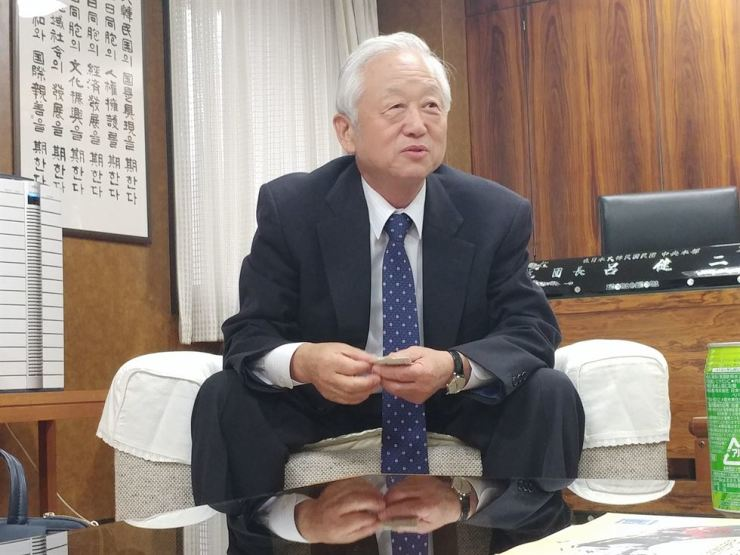 Yeo Geo-ni, the chief of the Korean Residents Union in Japan, speaks during an interview held at its headquarters, Tokyo, Thursday. / Joint Press Corps
