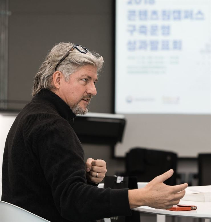 Christian Scheurer, a Swiss concept artist, speaks during an interview with The Korea Times in Seoul last Thursday. Courtesy of Korea Creative Content Agency