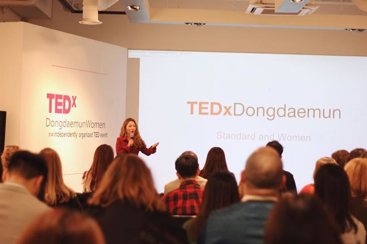 Eunhee Park speaks at TEDx in December 2018. Courtesy of Casey Lartigue Jr.