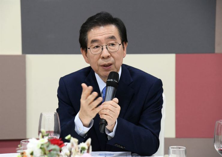 Seoul Mayor Park Won-soon speaks during a press conference at Seoul City Hall, Wednesday. / Courtesy of Seoul Metropolitan Government