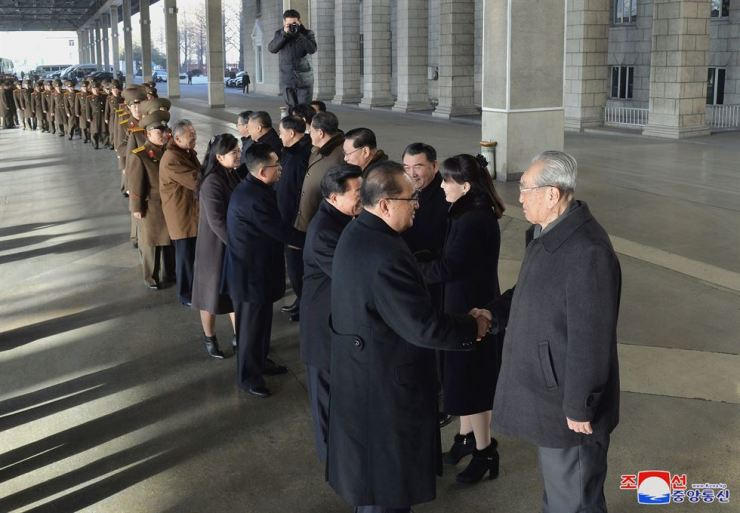 North Korea's friendship art delegation to China, led by Ri Su-yong, a member of the Political Bureau and vice chairman of the Central Committee of the Workers' Party of Korea, is seen off by senior committee officials including Kim Ki-nam, Kim Yo-jong, Kwon Hyok-bong, Ri Chang-gun and others on Wednesday in Pyongyang, in this photo released by the country's state-run Korean Central News Agency. KCNA-Yonhap