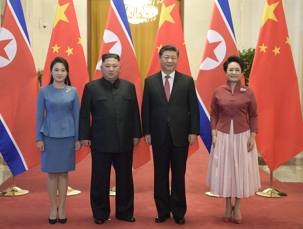 Xi Jinping, general secretary of the Central Committee of the Communist Party of China and Chinese president, holds a welcoming ceremony for Kim Jong-un, chairman of the Workers' Party of Korea and chairman of the State Affairs Commission of the Democratic People's Republic of Korea, before their talks at the Great Hall of the People in Beijing, capital of China, Jan. 8, 2019. Xinhua-Yonhap