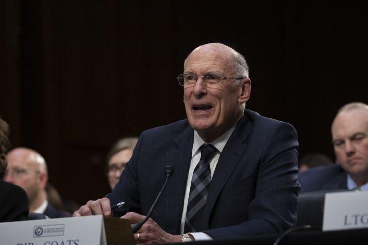 U.S. Director of National Intelligence Dan Coats testifies during a Senate Intelligence Committee hearing on Worldwide Threats on Capitol Hill in Washington, Jan. 29. (local time). AP-Yonhap