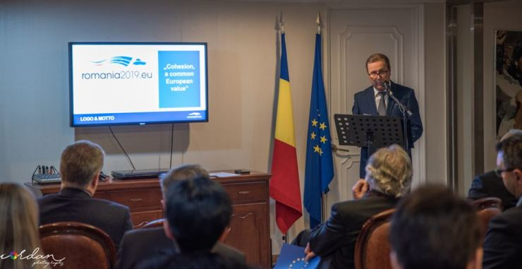 Romanian Ambassador to Korea Mihai Ciompec speaks in Seoul, Jan. 18, about Romania's first EU presidency and its challenges. / Embassy of Romania