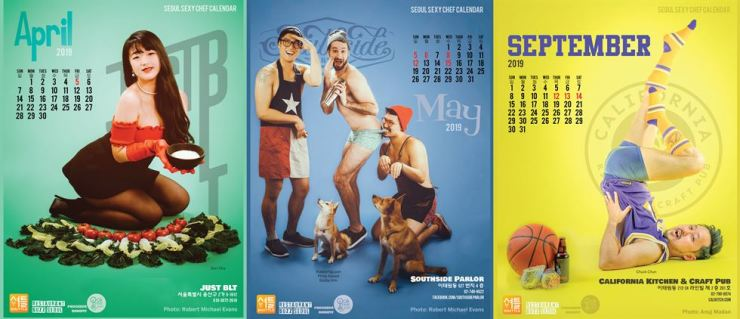 The 2019 Seoul Sexy Chef Calendar shows (from left) Cha Du-ri of Just BLT; Robbie Nguyen, Philip Abowd and Bobby Kim of Southside Parlor; and Chuck Chun of California Kitchen & Craft Pub. / Courtesy of Joe McPherson