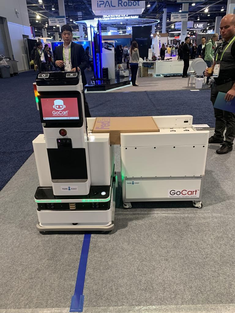 Seen is Yujin Robot's booth installed at the Consumer Electronics Show held in Las Vegas from Jan. 8 to 11. / Courtesy of Yujin Robot