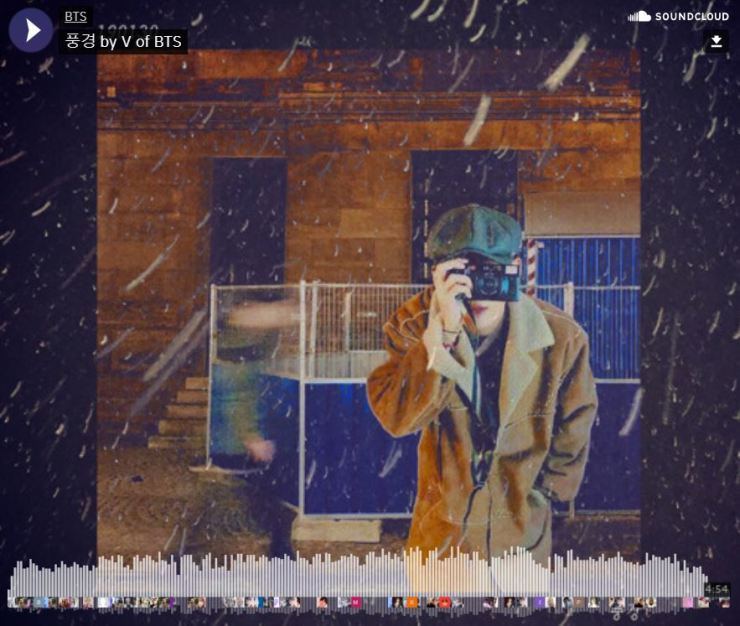 An image captured from BTS's official blog shows the cover for V's digital solo release. From Bangtan Blog