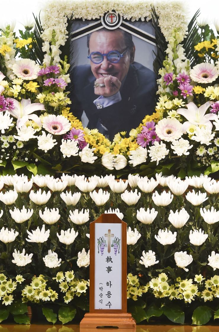 Photo shows a memorial hall for the late actor-turned-designer Hah Yeong-soo set at the Soon Chun Hyang University Hospital in Seoul, Sunday. Hah died of cancer, Saturday. Yonhap