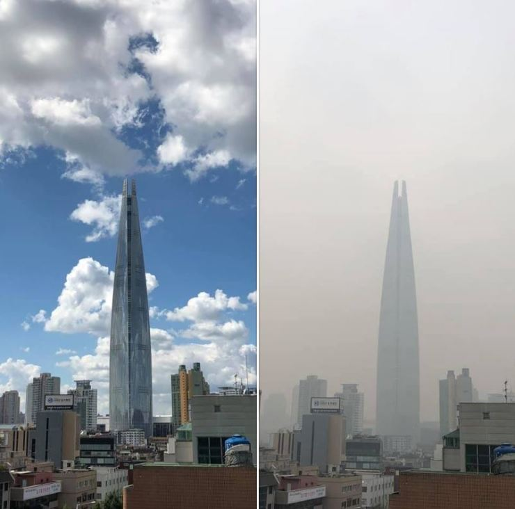 Lotte World Tower in Jamsil, Seoul, on a clear day and amid the dust.