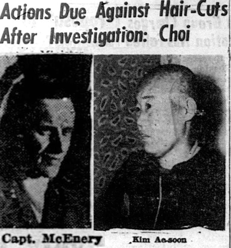 The Korea Times ran an article about an incident in which U.S. military personnel shaved the heads of women caught in base after midnight, on Jan. 7, 1960. / Korea Times archive