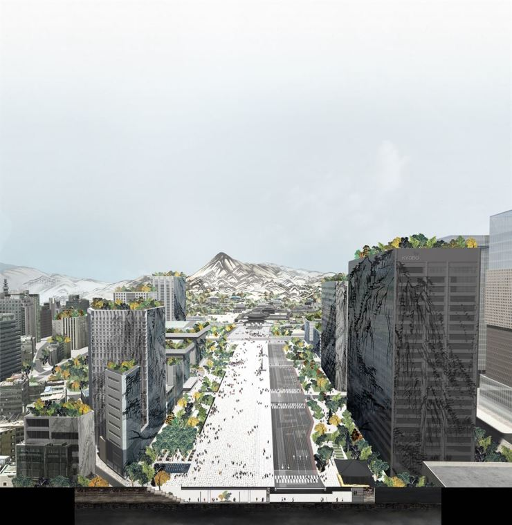A rendering of an expanded Gwanghwamun Square in central Seoul / Courtesy of Seoul Metropolitan Government