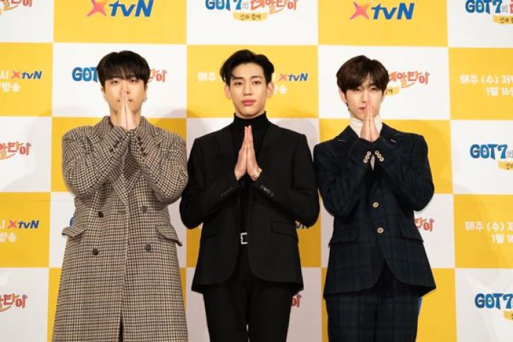 Youngjae, Bambam, and Mark from K-pop boy band GOT7 during a press event at IFC mall, Yeouido, Seoul to promote the new reality show 'GOT7's Real Thai.' Courtesy of XtvN.