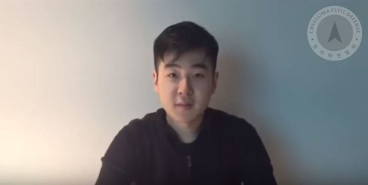 A man claiming to be Kim Han-sol, son of assassinated North Korean exile Kim Jong-nam, speaks about his whereabouts in a clip uploaded to YouTube on March 7, 2017.  Screengrab of Cheollima Civil Defense's Youtube channel