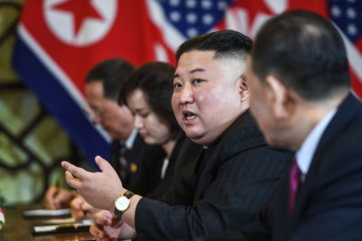 North Korea's leader Kim Jong-un speaks during a meeting with U.S. President Donald Trump at the second U.S.-North Korea summit at the Sofitel Legend Metropole hotel in Hanoi on February 28. AFP