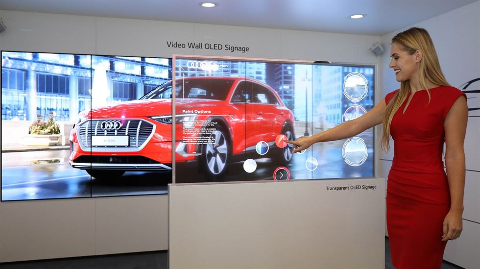 Models show Samsung Electronics' 292-inch The Wall 8K display at the Integrated Systems Europe trade show in Amsterdam. / Courtesy of Samsung Electronics