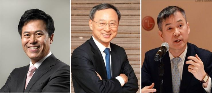 From left are SK Telecom CEO Park Jung-ho, KT Chairman Hwang Chang-gyu and LG Uplus CEO and Vice Chairman Ha Hyun-hwoi