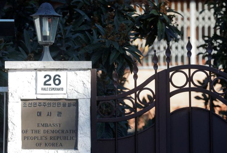 An entrance to the North Korean Embassy in Rome, Italy, Jan. 3. / Reuters-Yonhap
