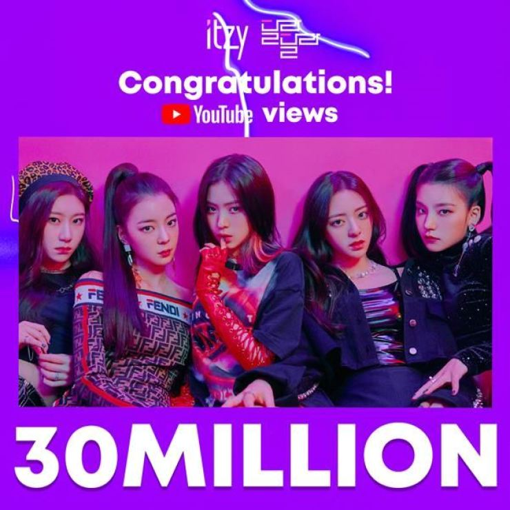 ITZY has had 43 million YouTube views of its debut single 'Dalla Dalla,' as of Friday. Courtesy of JYP Entertainment