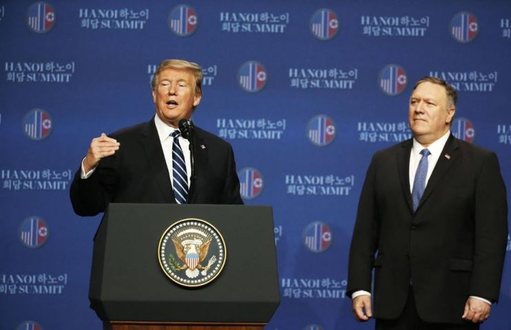 U.S. President Donald J. Trump and Secretary of State Mike Pompeo address a press conference after a meeting with the North Korean leader, in Hanoi, Vietnam, 28 February 2019. EPA