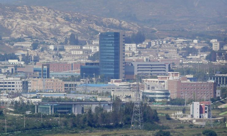 The Gaeseong Industrial Complex is seen from Dora Observatory on the South Korean side of the DMZ, which has separated the two Koreas since the Korean War, in this Sept. 25, 2013 photo. / AP-Yonhap